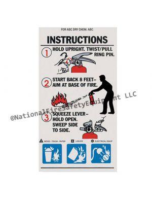 ABC Extinguisher Operating Instruction Label