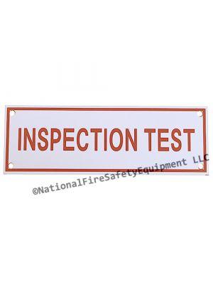 INSPECTION TEST Sprinkler Aluminum Sign